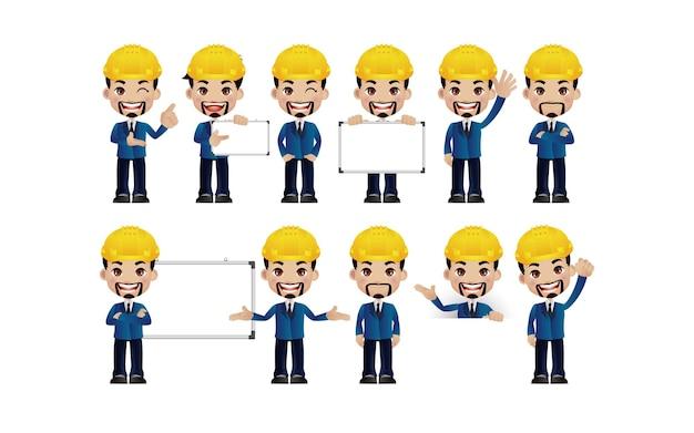 Męski inżynier z różnymi pozami
