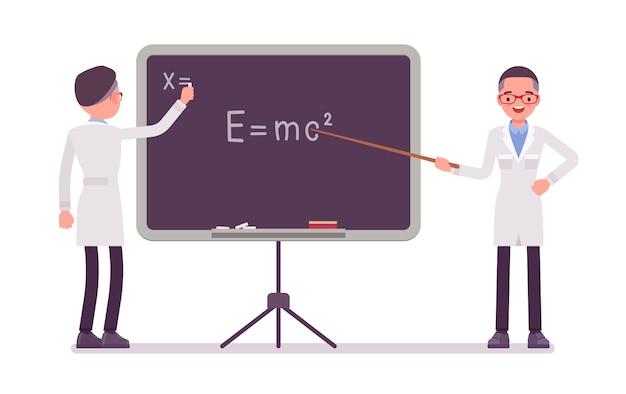 Męski naukowiec przy blackboard