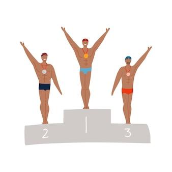 Męski pływak na podium olimpijskim przystojni sportowcy podczas ceremonii wręczenia nagród płaska ręcznie rysowana ilustracja