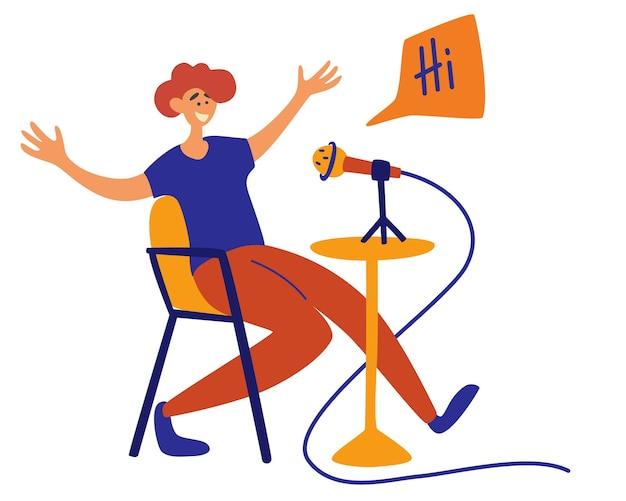 Męski podcaster rozmawiający z mikrofonem nagrywający podcast na białym tle postać z kreskówki gospodarz radiowy