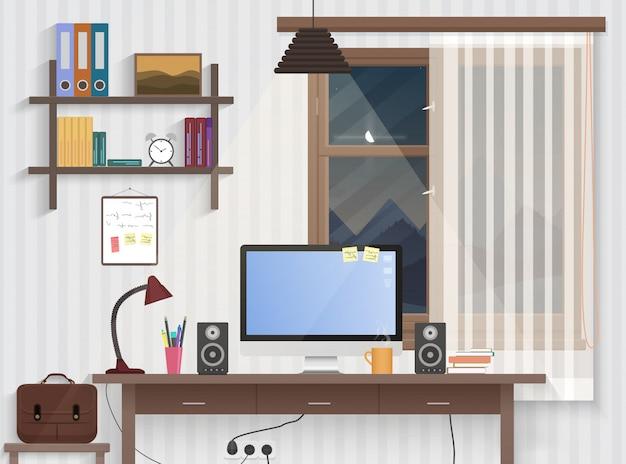 Męski pokój nastolatka z miejscem pracy