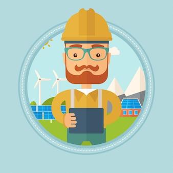 Męski pracownik elektrowni słonecznej
