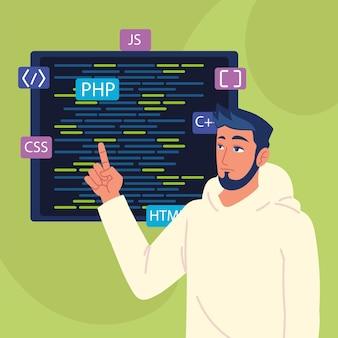 Męski programista z kodami html