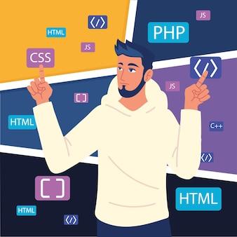 Męski programista z kodami rozwojowymi