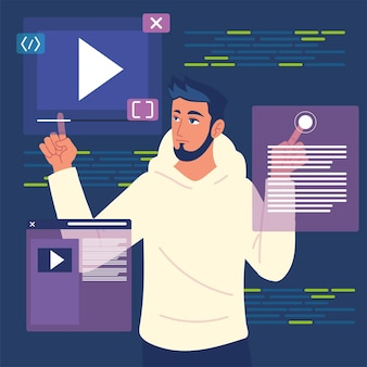 Męski programista z programowymi stronami internetowymi i kodami