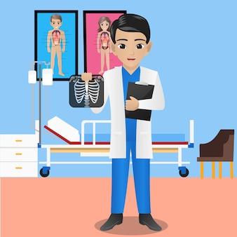 Męski radiolog trzyma radiograph i schowek