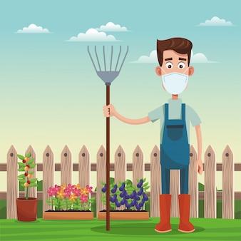 Męski rolnik jest ubranym medyczną maskową scenę