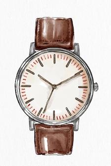 Męski skórzany zegarek na rękę wektor ręcznie rysowane szkic mody