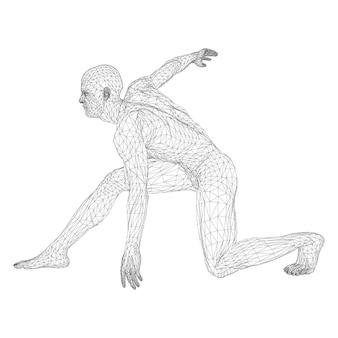Męski sportowiec rzucający dyskiem lub biegacz, w stanie gotowości lub na niskim starcie. widoki z różnych stron. ilustracja wektorowa czarnej, trójkątnej siatki na białym tle.