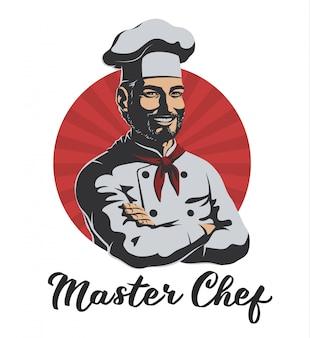 Męski szef kuchni dla logo ilustraci