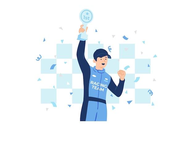 Męski zwycięzca wyścigu trzymający trofeum świętuje na ilustracji koncepcyjnej podium