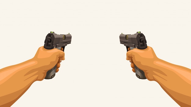 Męskie dłonie trzyma dwa pistolety