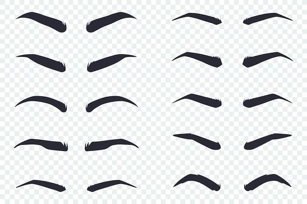 Męskie i żeńskie brwi o różnych kształtach