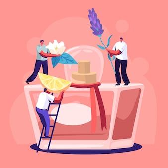 Męskie i żeńskie postacie perfumeryjne tworzą nowy zapach perfum. mali ludzie przynoszą składniki do ogromnej butelki z rozpylaczem z wodą toaletową.