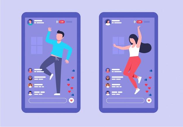 Męskie i żeńskie transmisje na żywo, taniec na ekranie smartfona, transmisja na żywo, udostępnianie w mediach społecznościowych płaskiej ilustracji