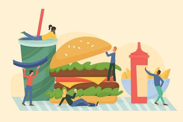 Męskie postacie kobiece korzystających z miłości fast foody uliczne