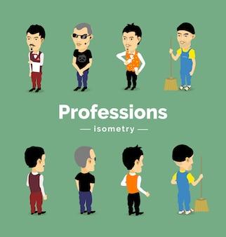 Męskie postacie różnych zawodów: barman, ochroniarz, kelner, sprzątacz