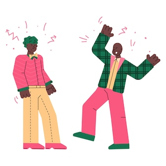 Męskie postacie walczące i kłócące się szkic ilustracji wektorowych na białym tle