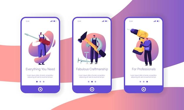 Męskie postacie z zestawem narzędzi na ekranie aplikacji mobilnej.