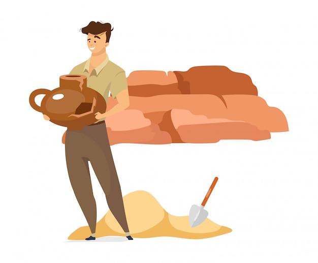 Męskiego archeologa koloru płaska ilustracja. człowiek ze starym wazonie. osoba z przedmiotem kultury. odkrycie uszkodzonej ceramicznej miski. badacz na białym tle postać z kreskówki na białym tle