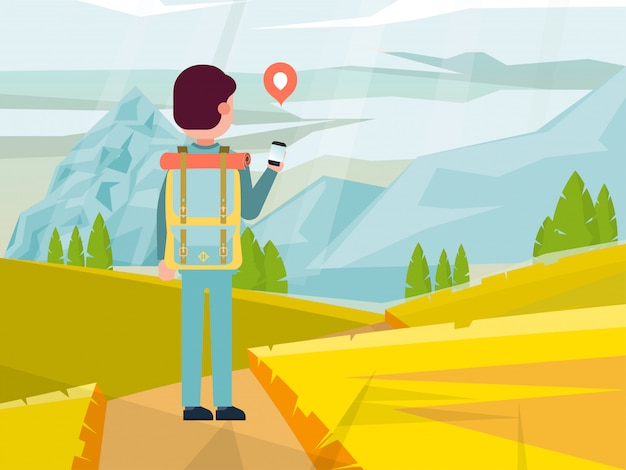 Męskiego charakteru backpacker podróżuje wokoło halnego miejsca, mężczyzna odprowadzenia podwyżki drogi ilustracja. ludzie ręka telefon komórkowy i smartfon.