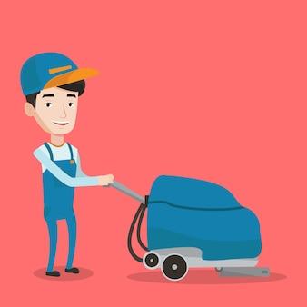 Męskiego pracownika cleaning sklepu podłoga z maszyną.