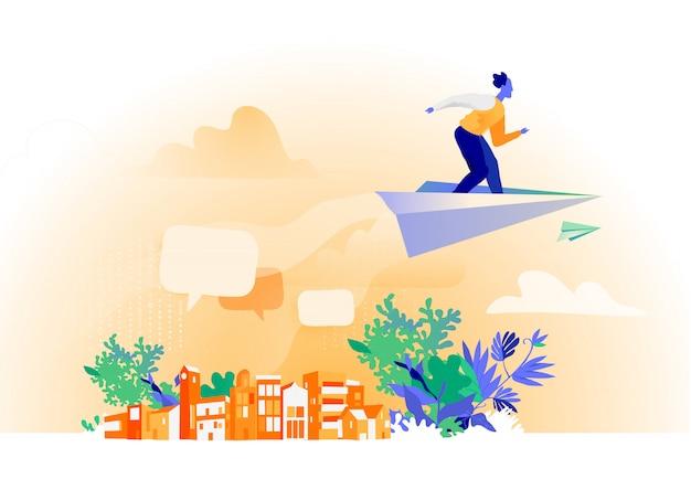 Messanger lecący nad miastem na papierowym samolocie