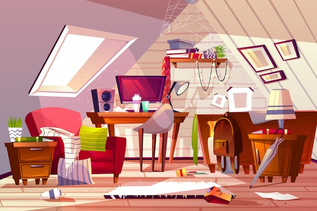 Messy wnętrze pokoju ilustracji. kreskówka mansarda lub strych mieszkanie w bałaganie.