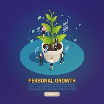 Metafora roślin do rozwoju osobistego, izometryczna kompozycja cyrkularna, w której ludzie ustalają cele, współpracując przy osiąganiu wyników