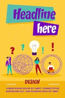 Metafora rozwiązań biznesowych. specjaliści z żarówką pomysłów i laptopem rozwiązujący plątaninę biznesmena