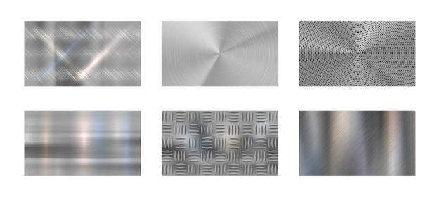 Metal szczotkowany. stalowa metaliczna tekstura, polerowany chrom i srebrne metale błyszczą realistycznym tłem. panele ze stali nierdzewnej, niklu lub aluminium chromowane. zestaw tła na białym tle wektor