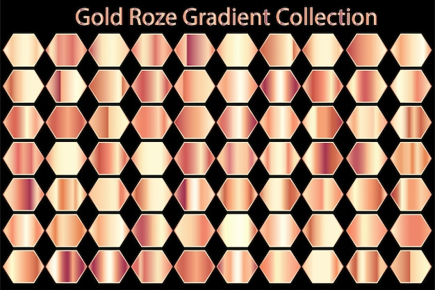Metaliczna faktura gold rose gradient set collection