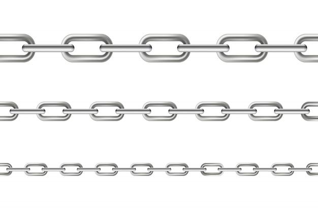 Metaliczne wiszące ogniwa łańcucha bez szwu metalu.