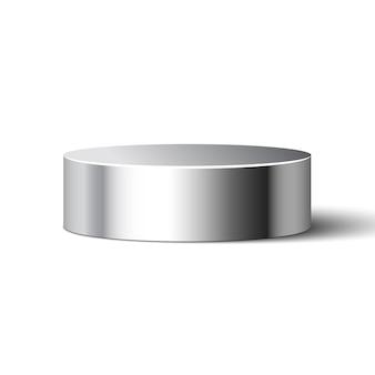 Metaliczny błyszczący cylinder na białym tle