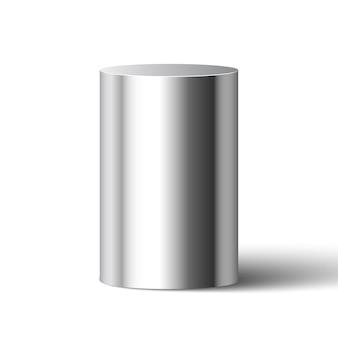 Metaliczny błyszczący cylinder. piedestał.