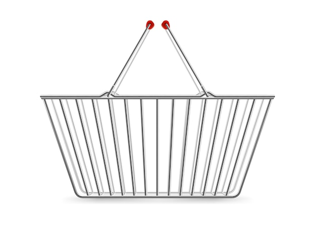 Metaliczny koszyk pusty realistyczny piktogram