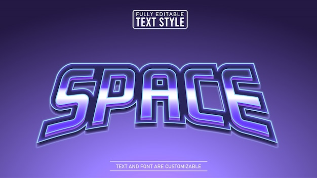 Metallic void space gra i tytuł filmu edytowalny efekt tekstowy