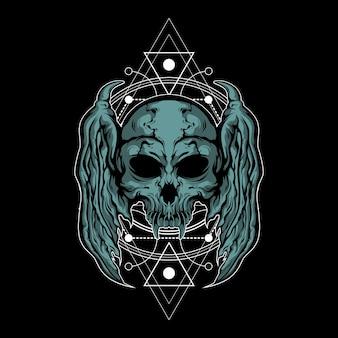 Metalowa czaszka ilustracja z świętej geometrii