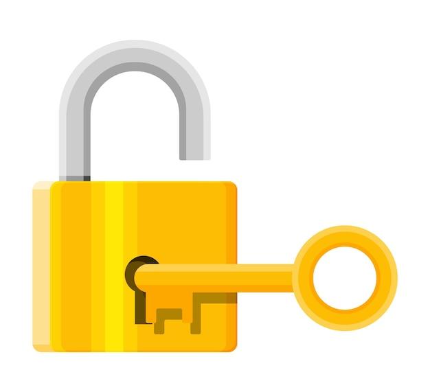 Metalowa kłódka z kluczem. zamek na kłódkę z kółkiem na klucze. ochrona, bezpieczeństwo i obrona. ilustracja wektorowa w stylu płaski