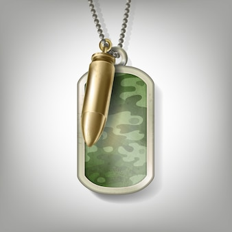 Metalowa przywieszka w kamuflażu żołnierza z kulą na łańcuszku