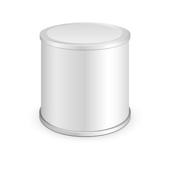 Metalowa puszka, konserwy. ilustracja na białym tle