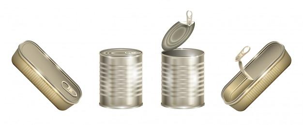 Metalowa puszka na białym tle realistyczny zestaw ikon. ilustracja aluminiowy pojemnik na białym tle