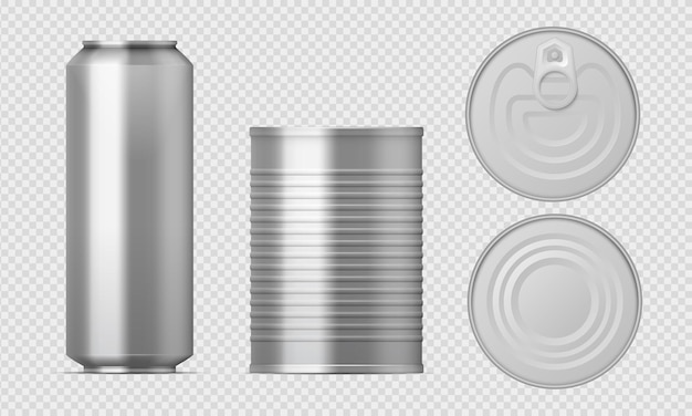 Metalowa puszka. realistyczne szablony pustych cylindrów do opakowań żywności, konserwowane aluminiowe pudełka z różnymi widokami.