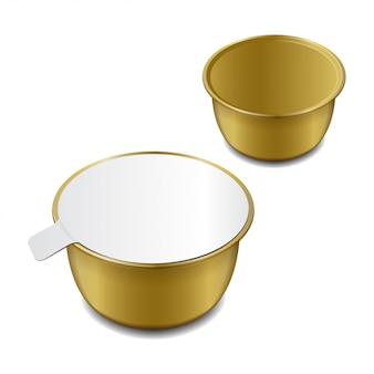 Metalowa puszka w kolorze złotym na pasztety, ryby, mięso, fasolę i inne produkty.