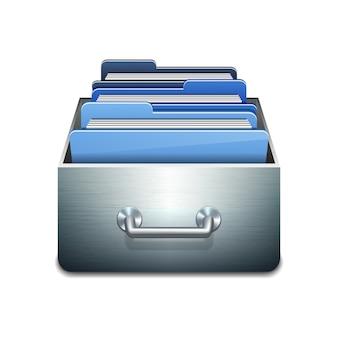 Metalowa szafka do napełniania z niebieskimi folderami. ilustrowana koncepcja organizacji i utrzymania bazy danych. na białym tle