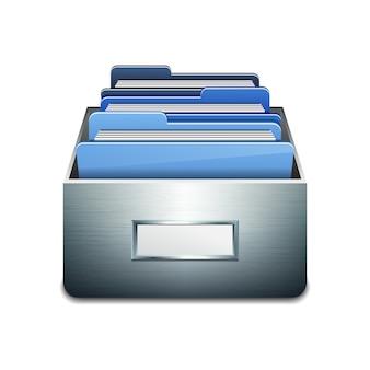 Metalowa szafka napełniająca z niebieskimi folderami. ilustrowana koncepcja organizacji i utrzymania bazy danych