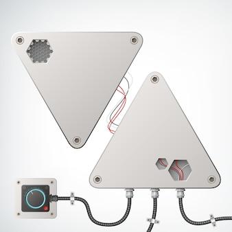 Metalowa techniczna kompozycja przemysłowa w postaci dwóch szarych trójkątów z różnymi zaawansowanymi technologicznie przewodami i jednym gniazdem na metalu