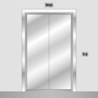 Metalowa winda z zamkniętymi drzwiami. realistyczna winda biurowa. ilustracja wektorowa.