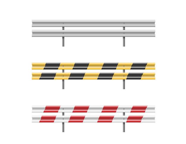Metalowe bariery drogowe ustawione na białym tle