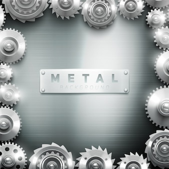 Metalowe cogwheel clockwork ramki nowoczesne dekoracyjne do wnętrza tła lub galerii sztuki